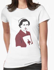 Retro Red Cross Nurse Womens Fitted T-Shirt