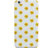 Yellow Flower Pattern - Grey iPhone Case/Skin