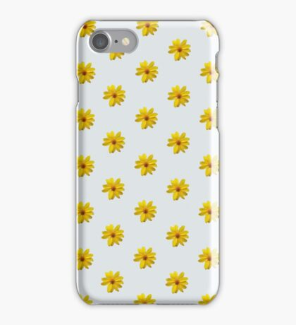 Yellow Flower Pattern - Grey iPhone Case/Skin