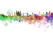London skyline in watercolor on white background by paulrommer