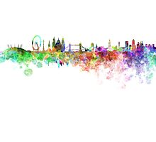 London skyline in watercolor on white background Photographic Print