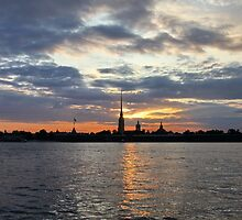 St. Petersburg silhouette of the city at night by mrivserg