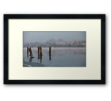 quiet misty morning on the river Framed Print