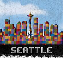 Space Needle Seattle Washington Skyline Created With Lego Like Blocks by T-ShirtsGifts