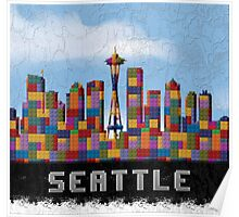 Space Needle Seattle Washington Skyline Created With Lego Like Blocks Poster