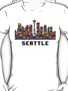 Space Needle Seattle Washington Skyline Created With Lego Like Blocks T-Shirt
