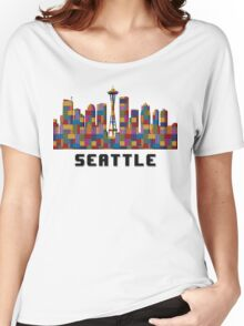 Space Needle Seattle Washington Skyline Created With Lego Like Blocks Women's Relaxed Fit T-Shirt