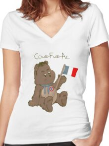 Cour-Fur-Ac Women's Fitted V-Neck T-Shirt