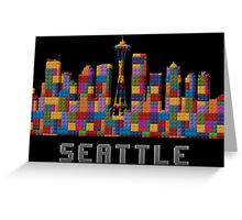 Space Needle Seattle Washington Skyline Created With Lego Like Blocks Greeting Card
