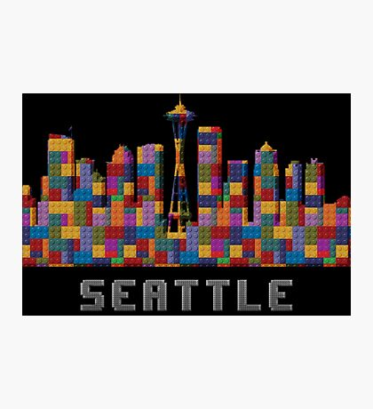 Space Needle Seattle Washington Skyline Created With Lego Like Blocks Photographic Print