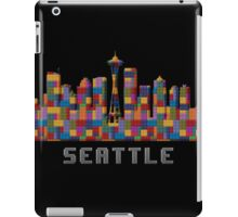 Space Needle Seattle Washington Skyline Created With Lego Like Blocks iPad Case/Skin