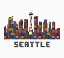 Space Needle Seattle Washington Skyline Created With Lego Like Blocks Kids Clothes