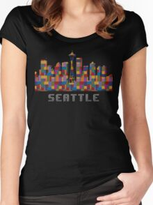 Space Needle Seattle Washington Skyline Created With Lego Like Blocks Women's Fitted Scoop T-Shirt