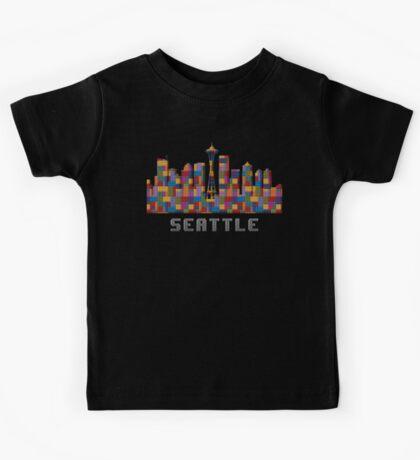Space Needle Seattle Washington Skyline Created With Lego Like Blocks Kids Tee