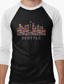Space Needle Seattle Washington Skyline Created With Lego Like Blocks Men's Baseball ¾ T-Shirt