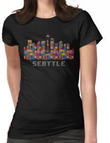Space Needle Seattle Washington Skyline Created With Lego Like Blocks Womens Fitted T-Shirt