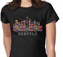 Space Needle Seattle Washington Skyline Created With Lego Like Blocks Womens Fitted T-Shirt