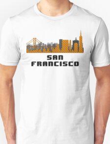 Golden Gate Bridge San Francisco California Skyline Created With Lego Like Blocks Unisex T-Shirt
