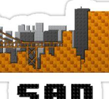 Golden Gate Bridge San Francisco California Skyline Created With Lego Like Blocks Sticker