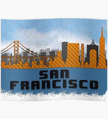 Golden Gate Bridge San Francisco California Skyline Created With Lego Like Blocks Poster