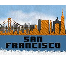 Golden Gate Bridge San Francisco California Skyline Created With Lego Like Blocks Photographic Print