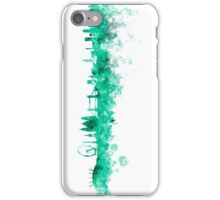 London skyline in green watercolor on white background iPhone Case/Skin