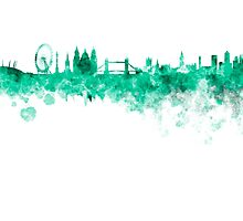 London skyline in green watercolor on white background by paulrommer