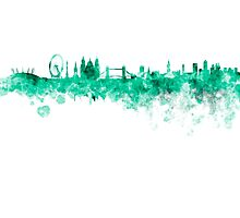 London skyline in green watercolor on white background Photographic Print