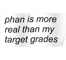"""phan is more real than my target grades"" (WHITE) Poster"