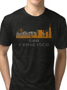 Gate Bridge San Francisco California Skyline Created With Lego Like Blocks Tri-blend T-Shirt