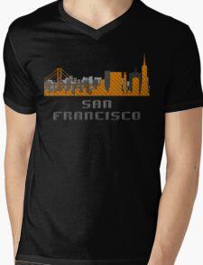 Gate Bridge San Francisco California Skyline Created With Lego Like Blocks Mens V-Neck T-Shirt