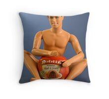 Ken with meat and gravy pie Throw Pillow