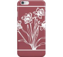 Marsala and White Daffodil Design iPhone Case/Skin