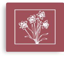 Marsala and White Daffodil Design Canvas Print