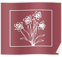 Marsala and White Daffodil Design Poster