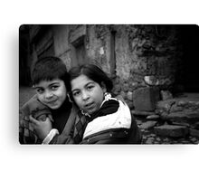 Children Smiling On The Street Canvas Print