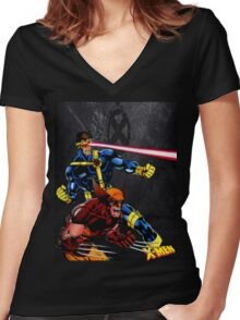 Spandex is cool!! Women's Fitted V-Neck T-Shirt