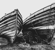 Weathered Wooden Crab Boats by Mark Sayer