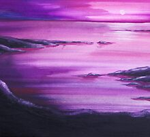 SUNSET BAY ~ WATERCOLOUR AND ACRYLIC ON CANVAS by LacewingDesign