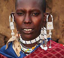 Exotic Ear-rings, Maasai or Masai Woman, East Africa  by Carole-Anne