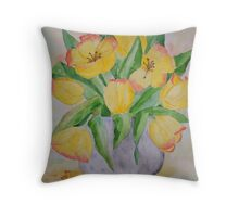 Yellow Spring Tulips Throw Pillow