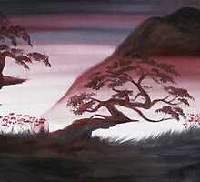 MIST AND THE MOUNTAINS ~ ATERCOLOUR AND ACRYLIC by LacewingDesign