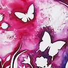BUTTERFLY GARDEN SILHOUETTE ~ WATERCOLOUR ON CANVAS by LacewingDesign
