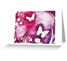 BUTTERFLY GARDEN SILHOUETTE ~ WATERCOLOUR ON CANVAS Greeting Card