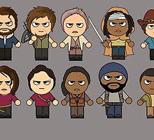 The Walking Dead - Main Characters Chibi - AMC Walking Dead by ptelling