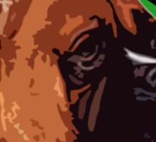 BOXER DOG PORTRAIT GREEN Sticker