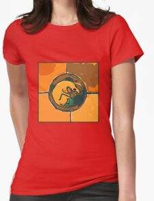 SLEEPING ORANGE DOG  Womens Fitted T-Shirt