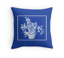 Deep Ocean Blue with White Flower Basket Throw Pillow