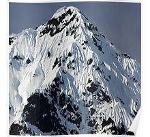 Sunny Snowy Mountain With Blue Sky Poster