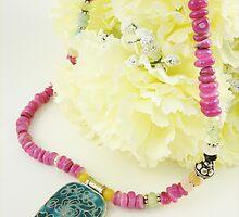 Beadwork on Flower by beadambition